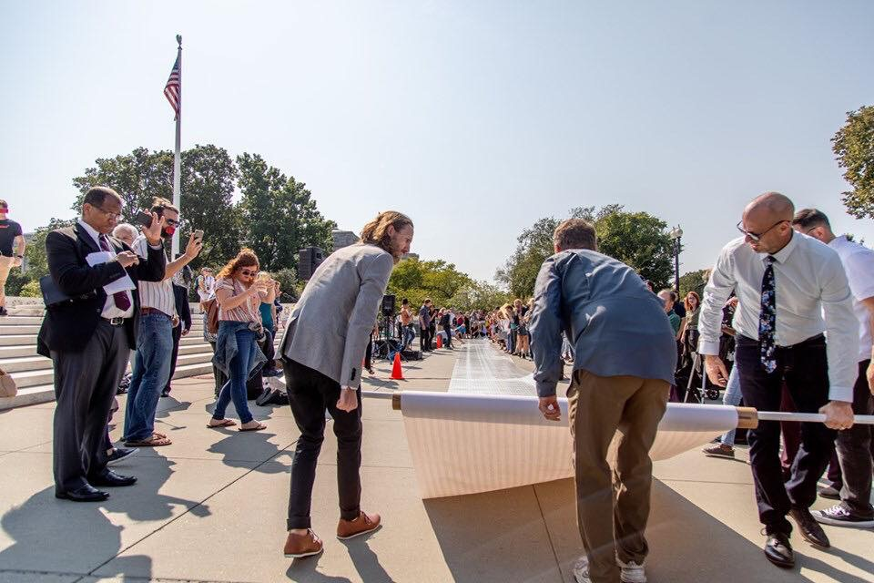In Washington, DC we unrolled 240,897 signatures for the Supreme Court to overturn Roe v. Wade